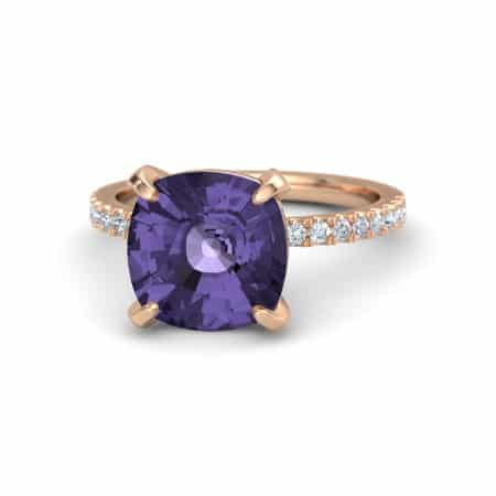 Iolite Moissanite Gemstone Engagement Ring from Gemvara