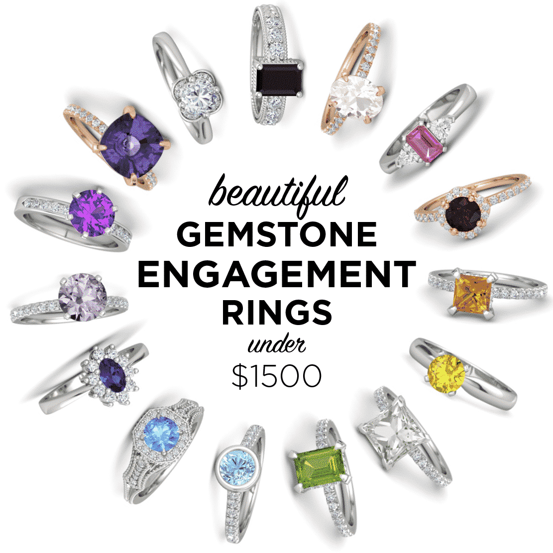 Gemstone Engagement Rings under $1500