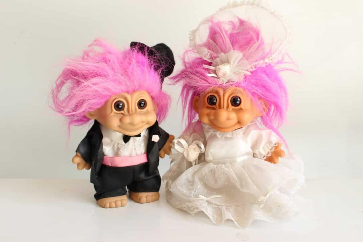 Wedding Trolls Cake Topper