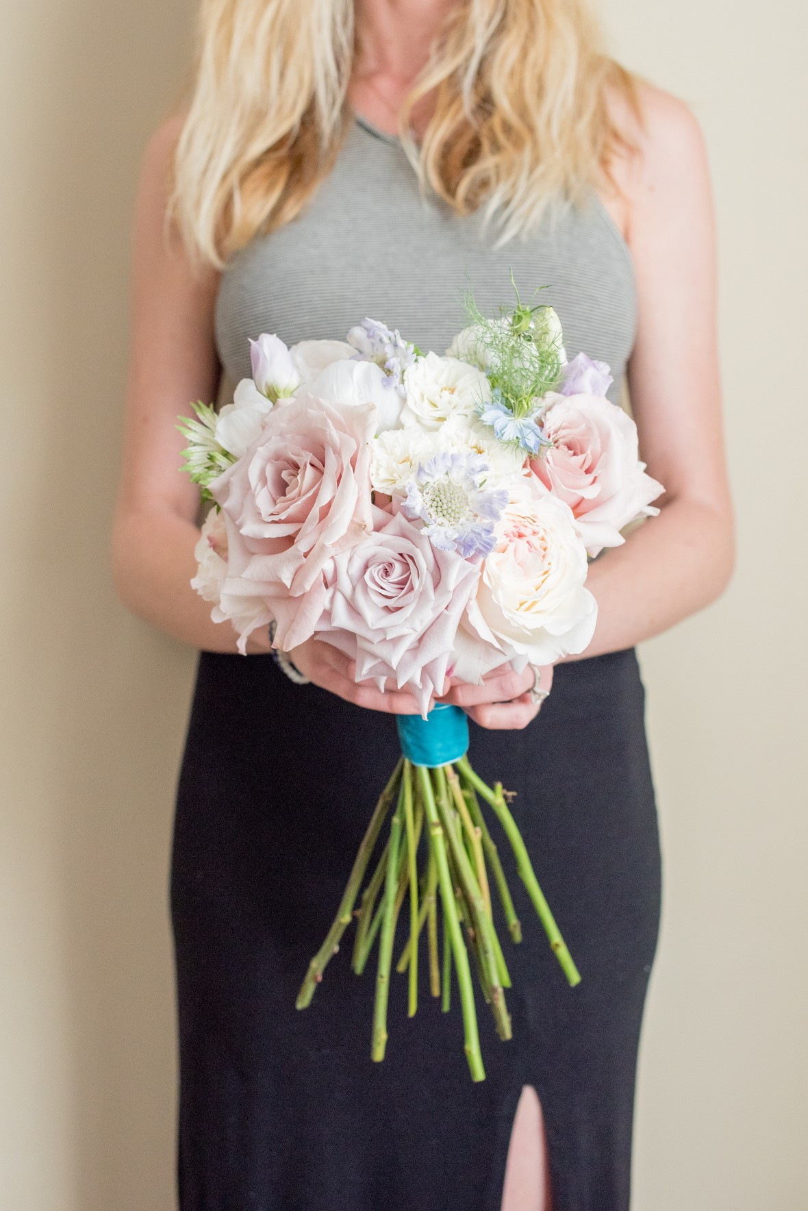 tight rose bouquet with ribbon wrap