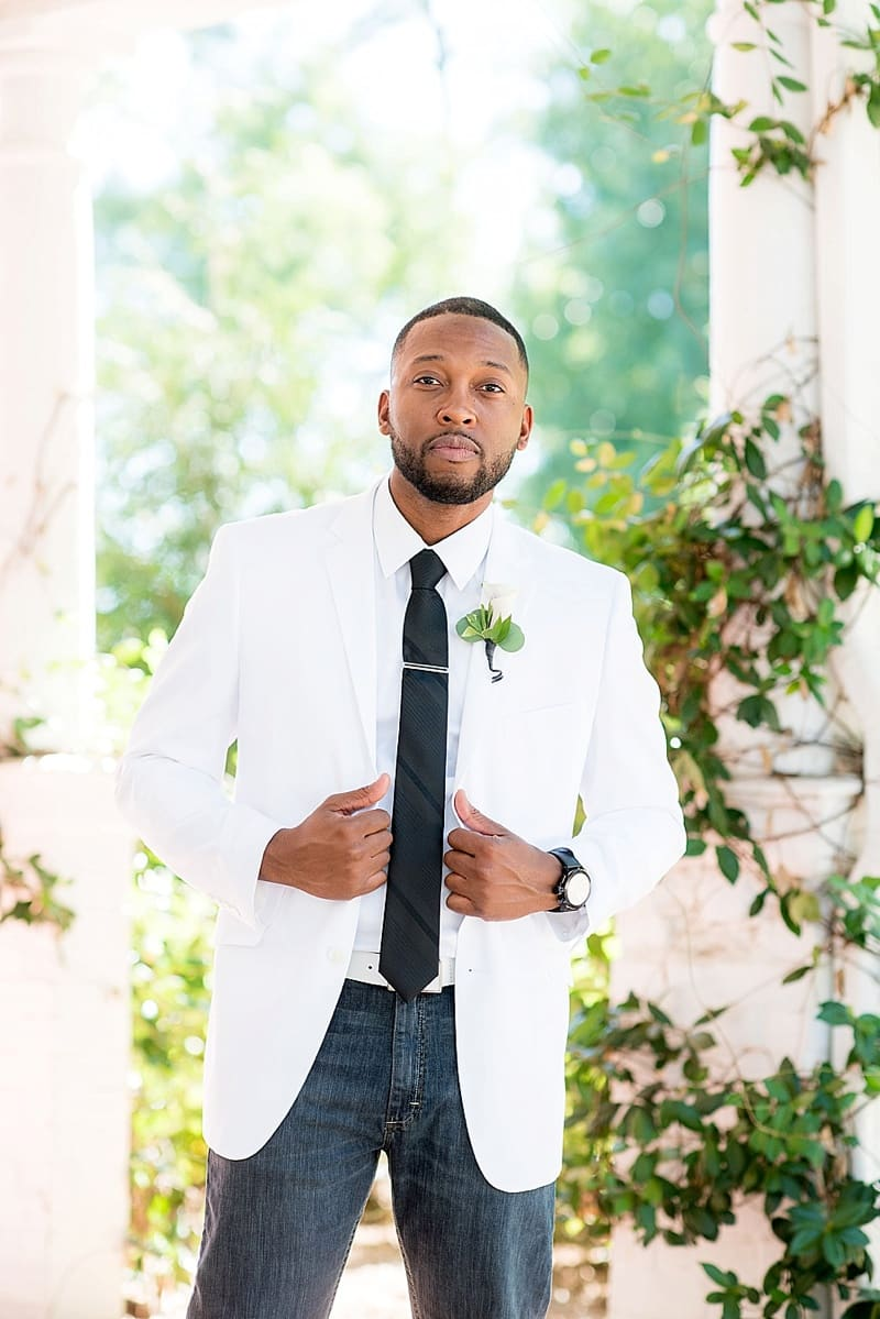 white sport coat groom attire