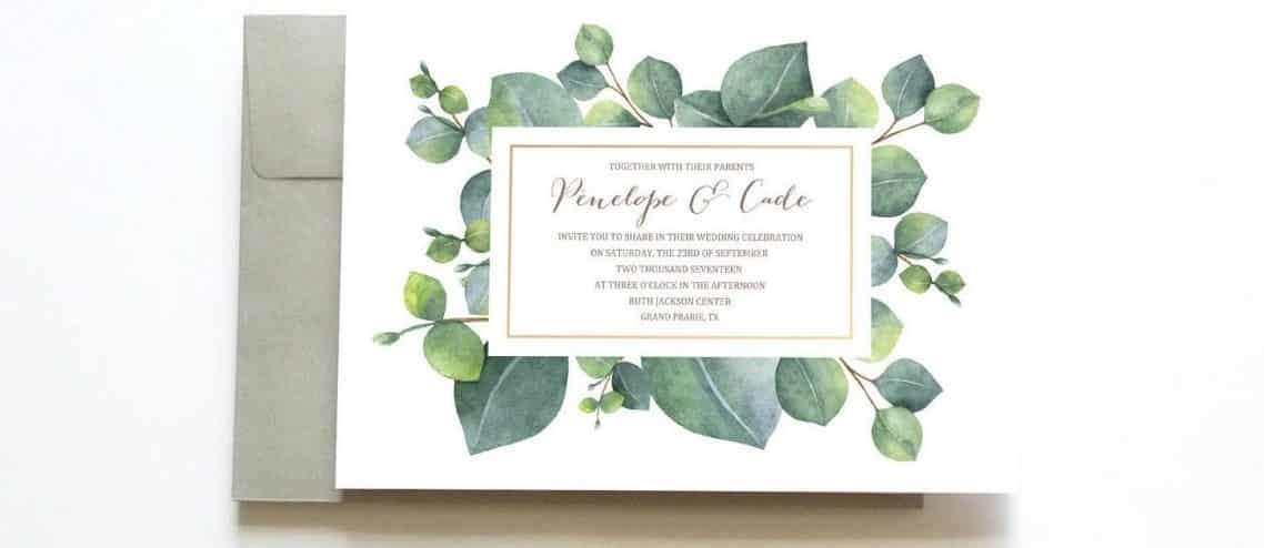 Greenery Themed Wedding Invitations from Etsy | The Budget Savvy Bride
