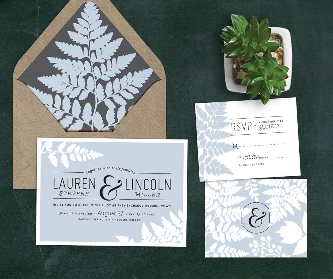 Fern Wedding Invitation Set with RSVP