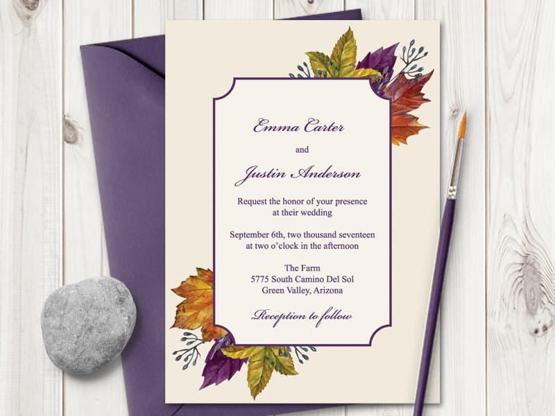 "Watercolor Wedding Invitation ""Autumn Leaves"""