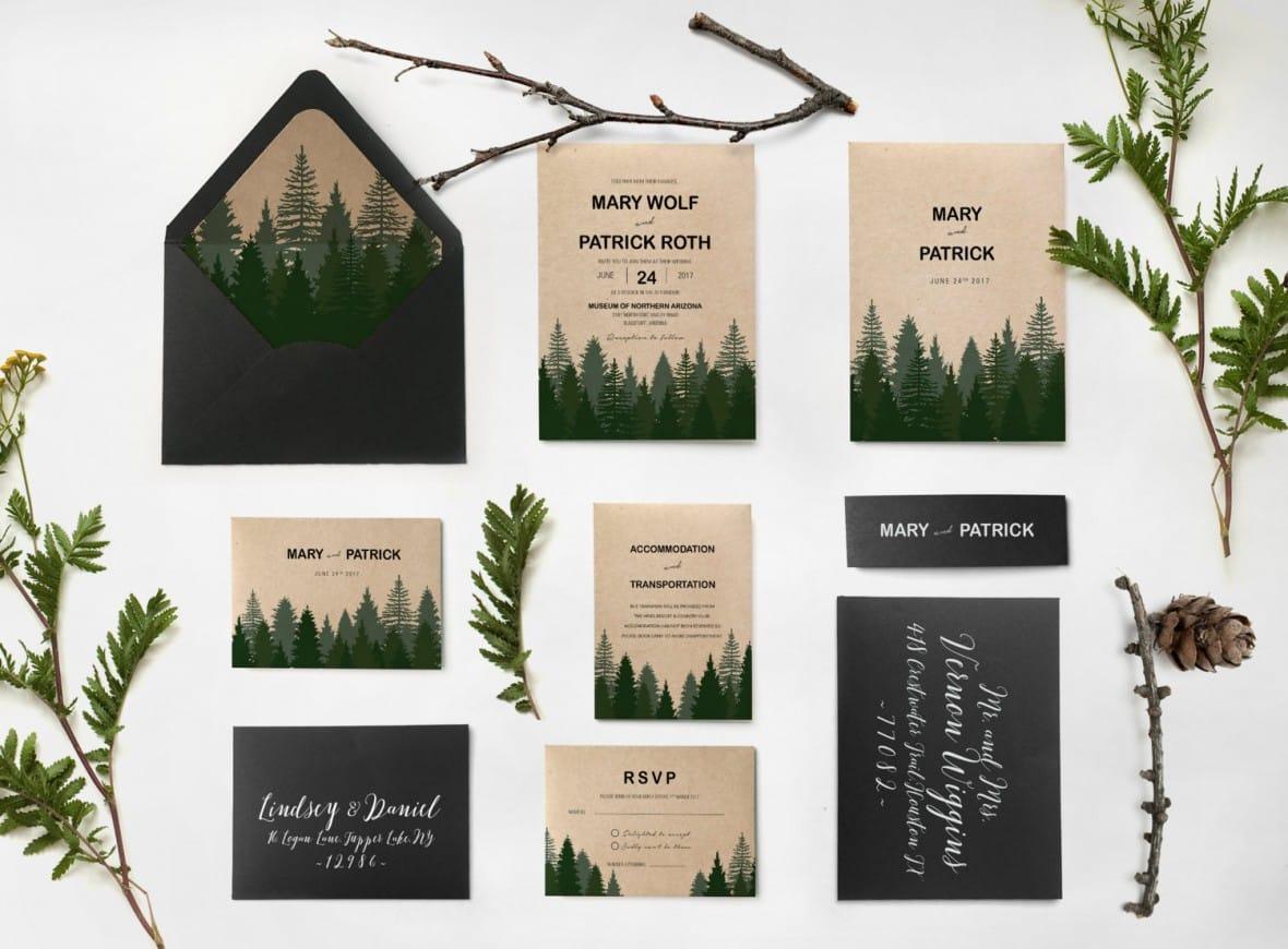 Pine Forest Wedding Invitation Suite