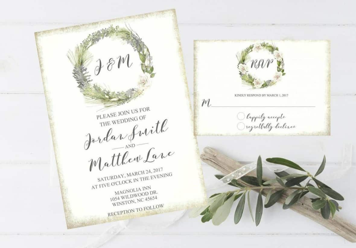 Rustic Pine with White Roses Invitation bythemilkandcreamco