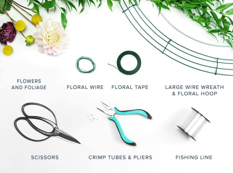 DIY Flower Chandelier Materials