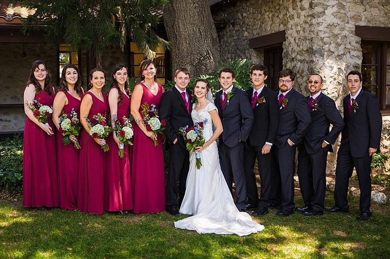 red bridesmaid attire