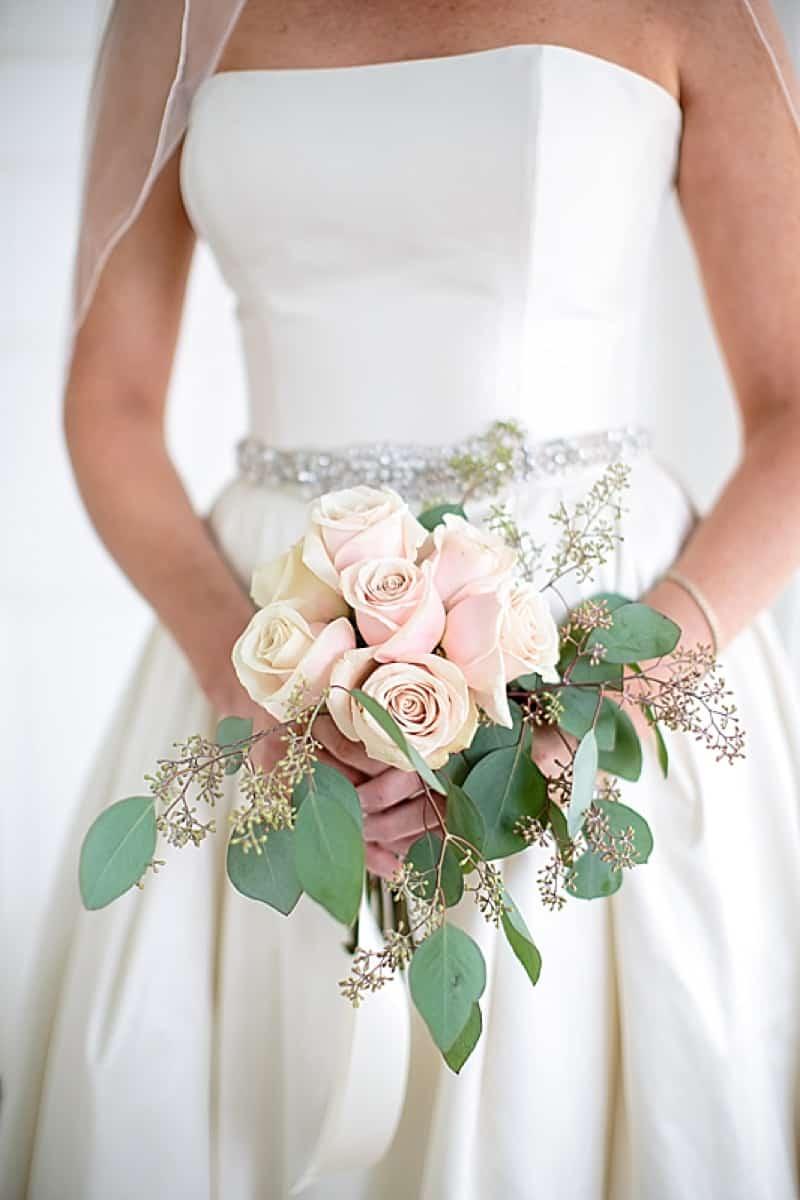 pale pink rose wedding bouquet