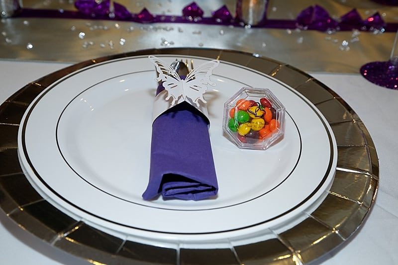 purple and gray wedding decor