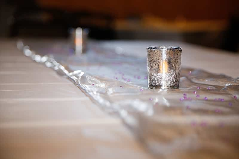 purple and gray wedding decor