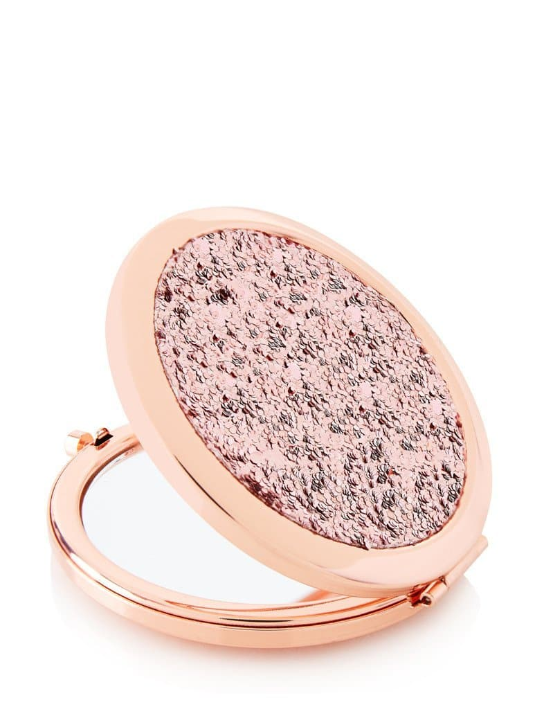 rose gold glitter mirror