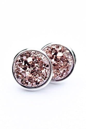 rose druzy earrings
