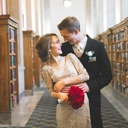 library wedding photos