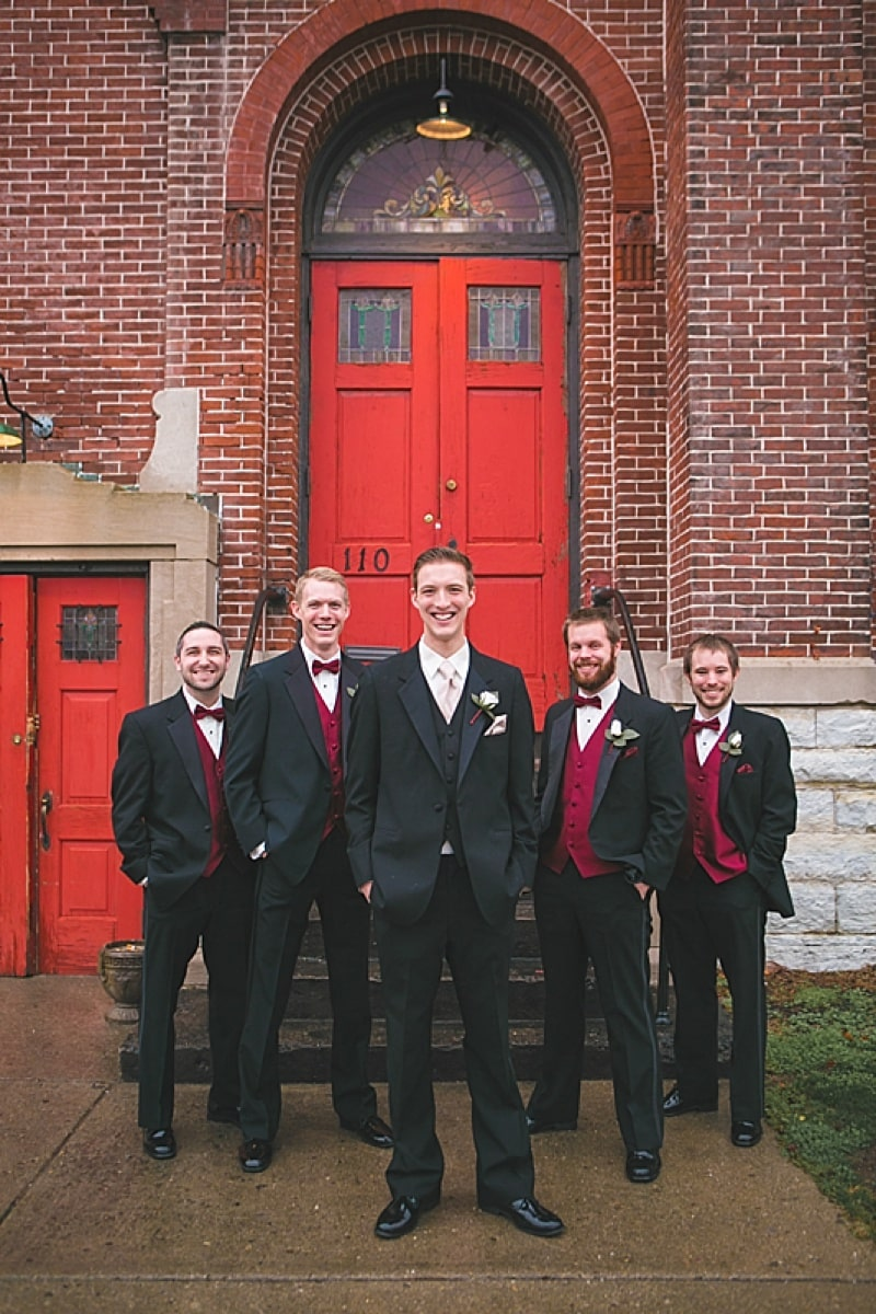 black and red groomsmen attire