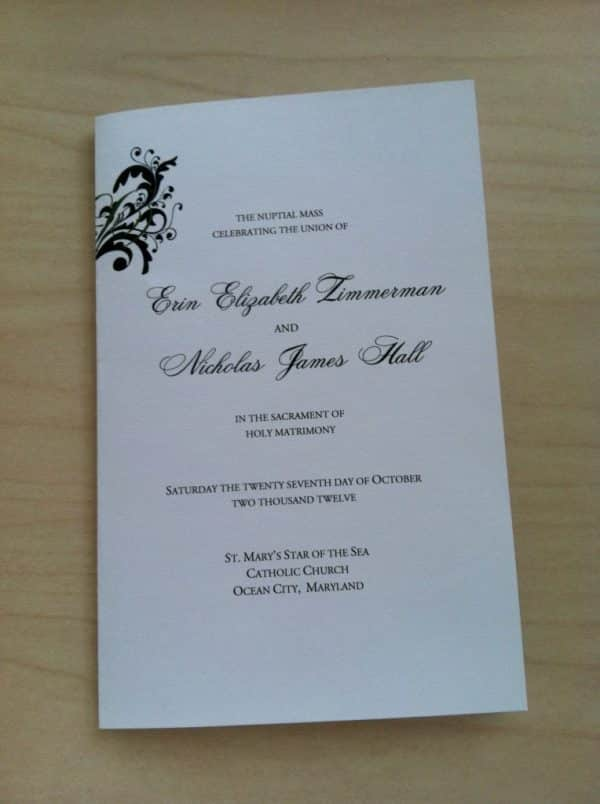 This free Catholic Wedding Program template takes out all the guesswork for your guests on when to sit, kneel, respond, etc.