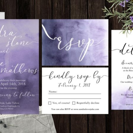 Watercolor Wedding Invitation Suite by BannerWeddings