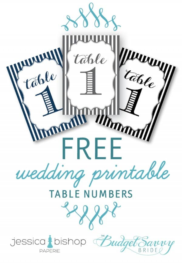 Free Wedding Table Numbers Printable from The Budget Savvy Bride and Jessica Bishop Paperie!