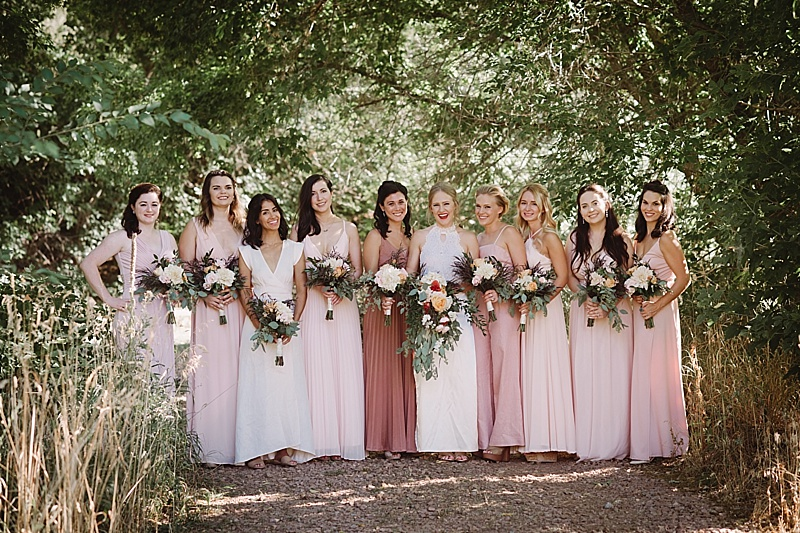 mismatched pink wedding dresses