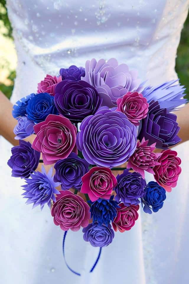 DIY Paper Wedding Bouquet and Matching Flower Girl Barrettes using Cricut Explore Air