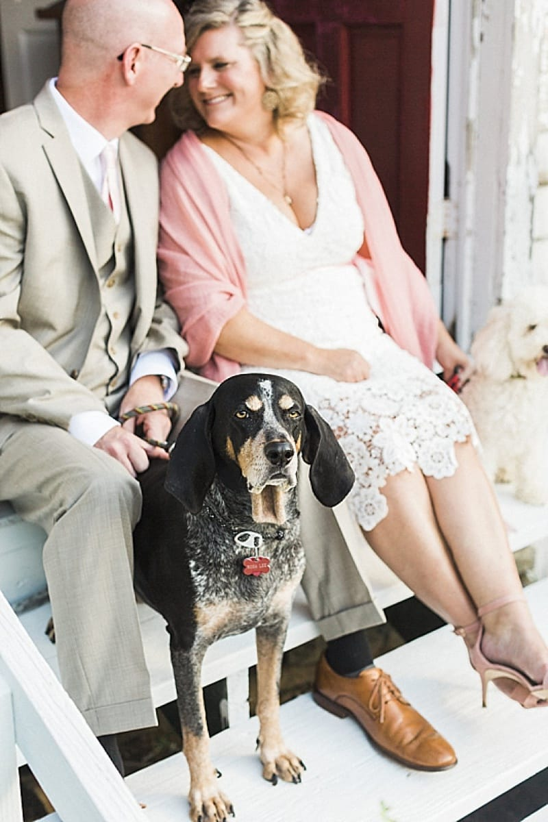 couple wedding photos with dogs