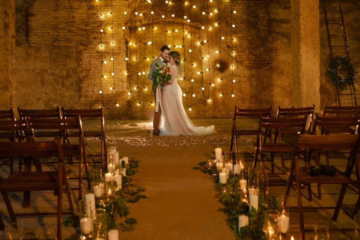 Decorate wedding backdrop or arches with string lights