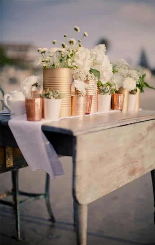 upcycled tin cans wedding decor