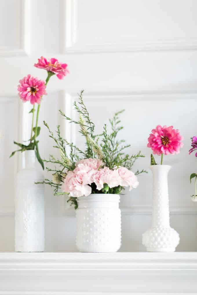 diy milk glass upcycled wedding decor via glitter inc