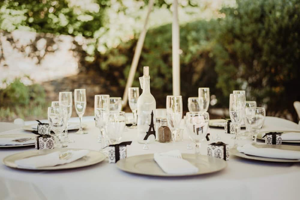 DIY wedding decor, Paris themed wedding centerpieces