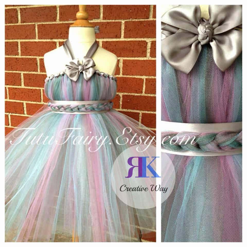 Silver Unicorn Tutu Flower Girl Dress by rkcreativeway