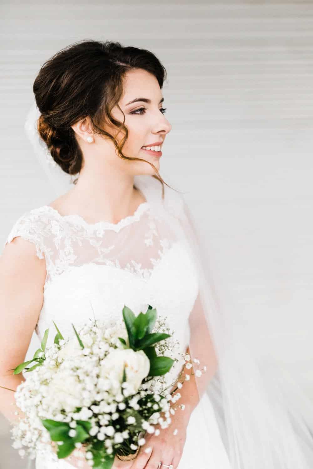 bride style, bouquet, wedding dress