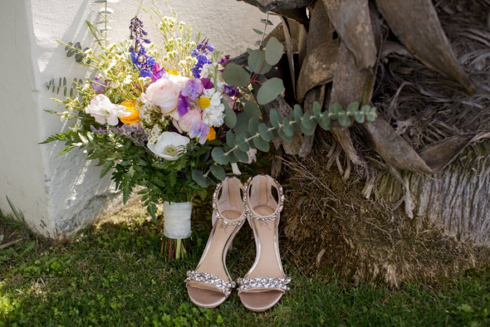 boho classic cailfornia wedding, wedding flowers, bouquets, shoes
