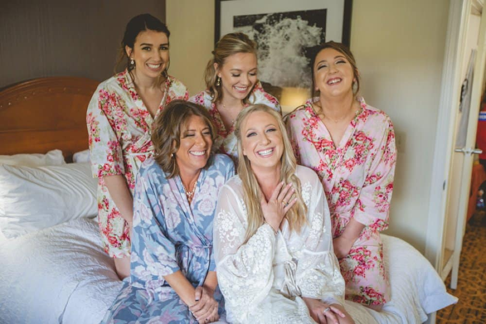 boho classic cailfornia wedding, flower robes, getting ready