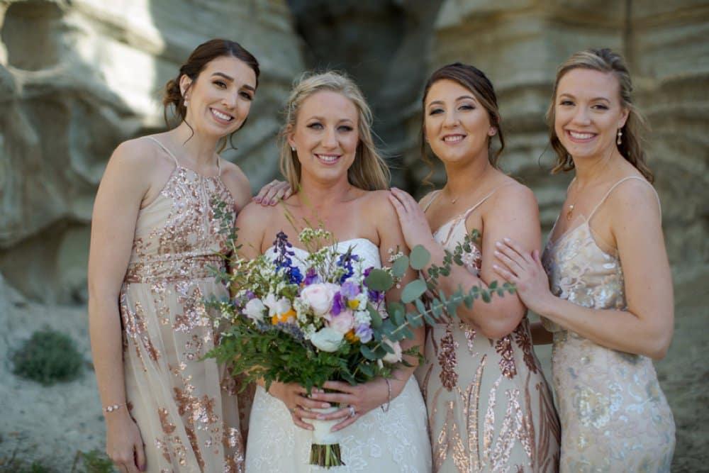 boho classic cailfornia wedding, rose gold bridesmaid dresses, bridesmaid style