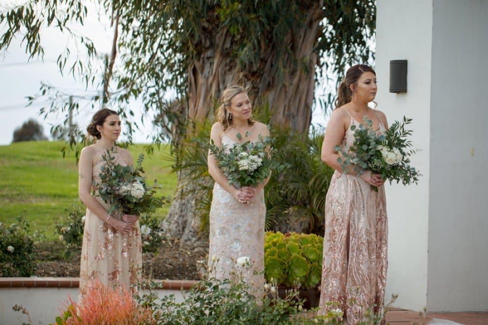 boho classic California wedding, bridesmaid style, wedding ceremony