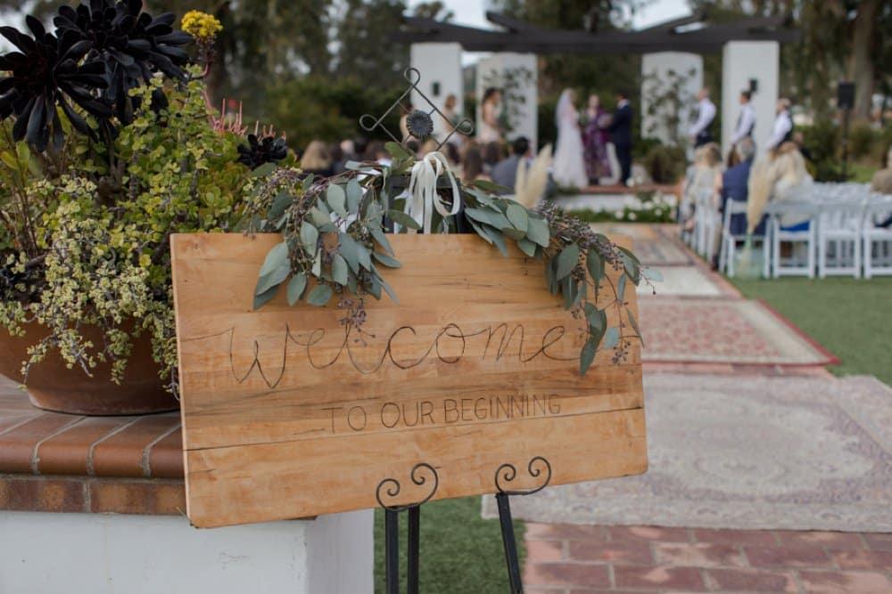 boho classic California wedding, wedding signs, diy wedding decor
