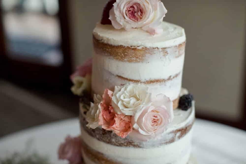 boho classic California wedding, wedding cake, naked cake
