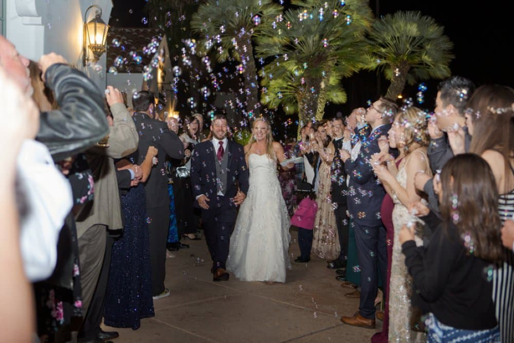 boho classic California wedding, bubble sendoff
