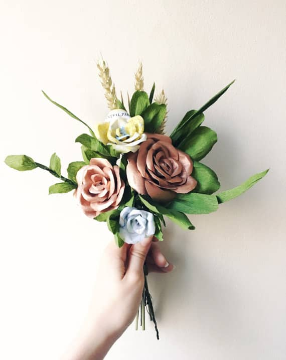 Copper Paper Wedding Bouquet by RachelEmmaStudio