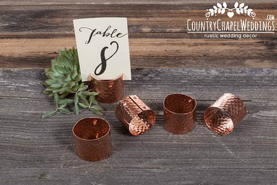 Copper Table Number Holder by CountryChapel
