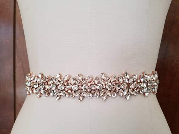 Crystal Rhinestone with Rose Gold Details Bridal Belt by LucyBridalBoutique
