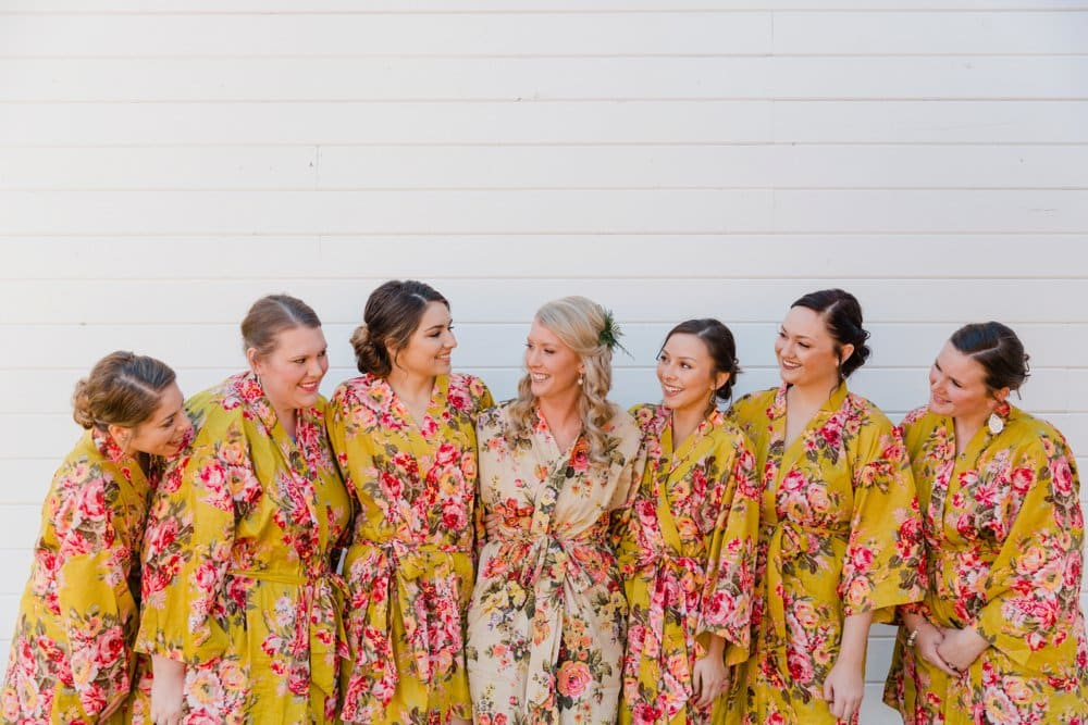 bridesmaids, floral robes