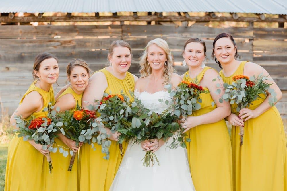 bridesmaid style, yellow bridesmaid dresses, fall wedding