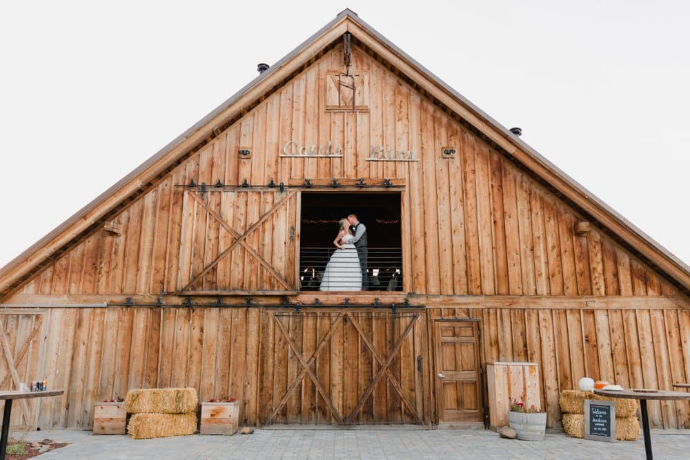 barn wedding, bride and groom, fall wedding