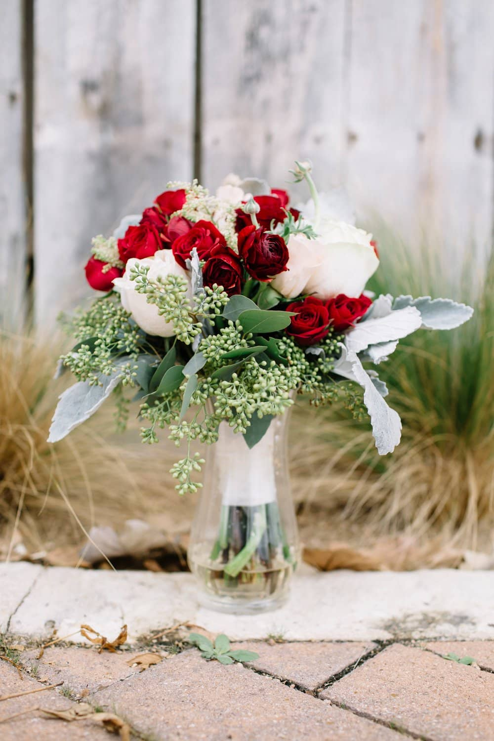 red rose bouquet, winter wedding flowers