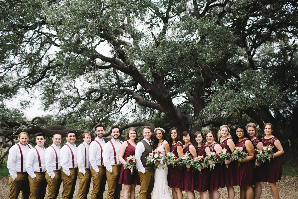 bridal party, maroon and tan, maroon and khaki