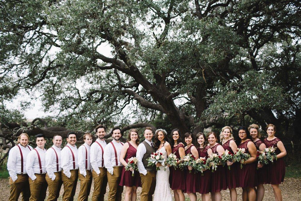 bridal party, maroon and tan, maroon and khaki