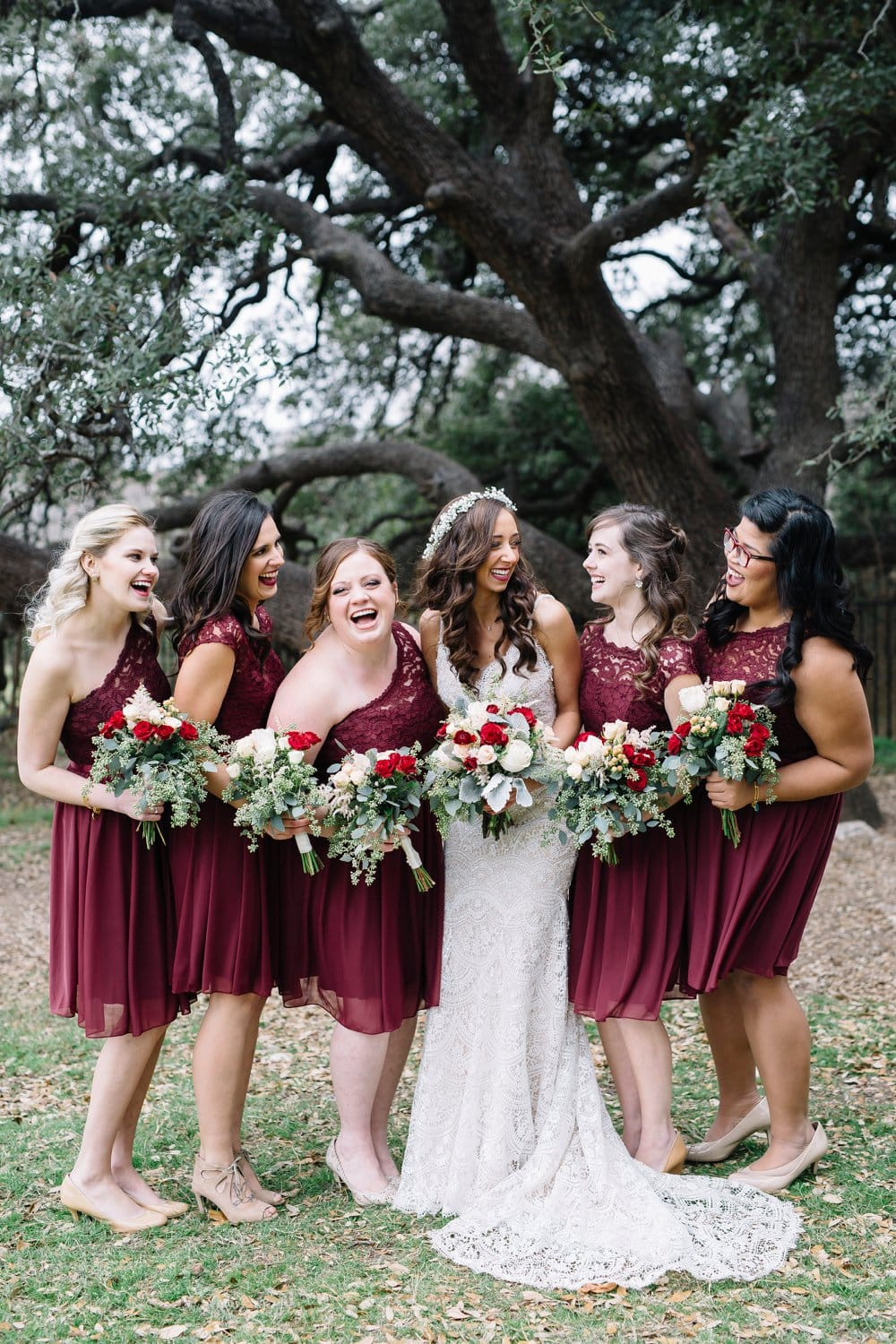 bridesmaids, maroon bridesmaid dresses