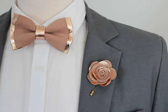 Rose Gold Leather Bow Tie and Boutonniere by NevesticaWeddings