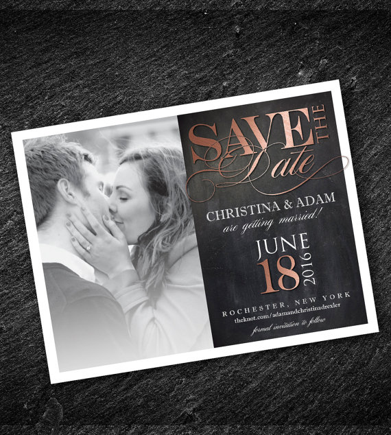 Rose Gold Save the Date Photo Magnet or Postcard by NVusDesigns